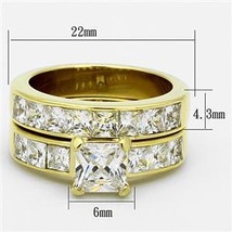 Gold Tone Stainless Steel Princess Cut CZ Engagement & Wedding Rings -SIZE 5-10 image 2