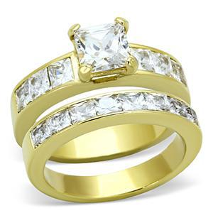 Gold Tone Stainless Steel Princess Cut CZ Engagement & Wedding Rings -SIZE 5-10 image 3