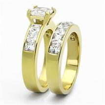 Gold Tone Stainless Steel Princess Cut CZ Engagement & Wedding Rings -SIZE 5-10 image 4
