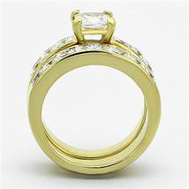 Gold Tone Stainless Steel Princess Cut CZ Engagement & Wedding Rings -SIZE 5-10 image 5