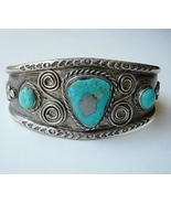 Vintage Navajo Bracelet with Turquoise, Silver ... - $245.00