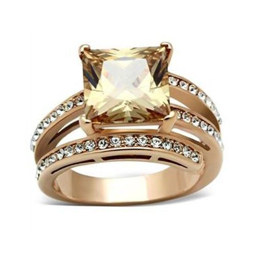 Rose Gold Princess Cut Champagne Cubic Zirconia Ring - SIZE 6 or other sizes