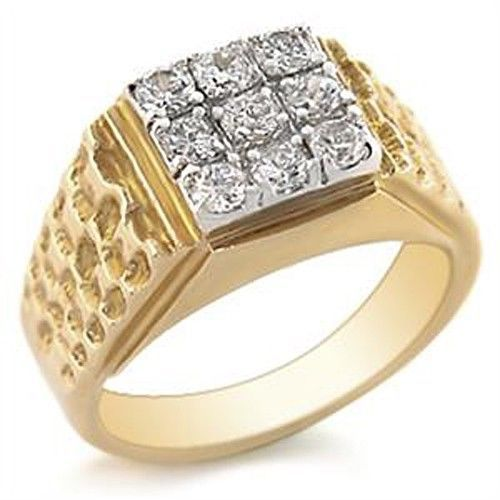Two Tone Men's Pave Cubic Zirconia Ring - SIZE 10, 11, 13