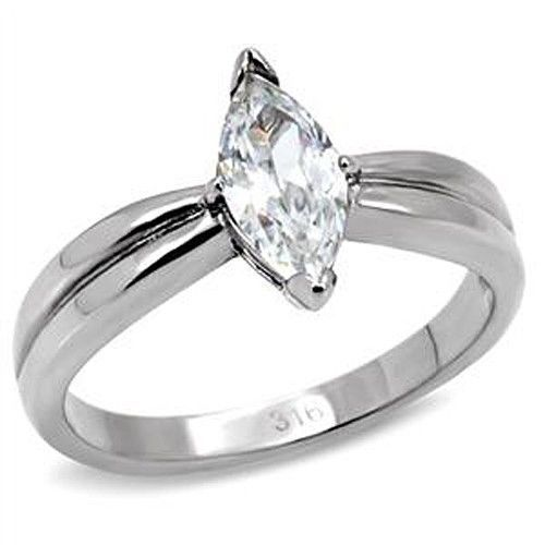 Stainless Steel Cubic Zirconia Marquise Shape Engagement Ring - SIZE 5 TO 10