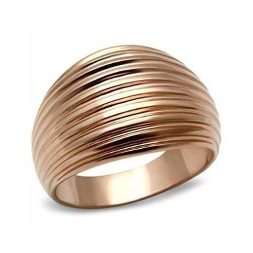 Rose Gold Tone Dome Style Groove Design Band Ring - SIZE 5 to 10