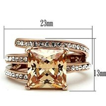 Rose Gold Princess Cut Champagne Cubic Zirconia Ring - SIZE 6 or other sizes image 2