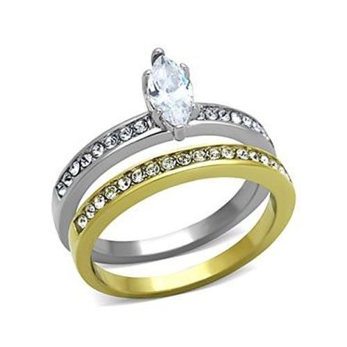 Stainless Steel Two Tone Marquise Cut CZ Wedding Ring Set Size - 5 to 10