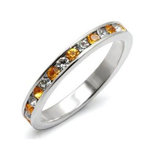 STERLING SILVER Clear and Yellow Crystal Band - Limited Offer SIZE 6 , 7, 8