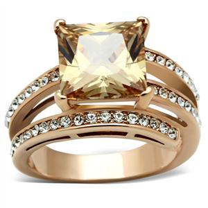 Rose Gold Princess Cut Champagne Cubic Zirconia Ring - SIZE 6 or other sizes image 3
