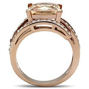 Rose Gold Princess Cut Champagne Cubic Zirconia Ring - SIZE 6 or other sizes image 4