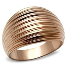 Rose Gold Tone Dome Style Groove Design Band Ring - SIZE 5 to 10 image 2