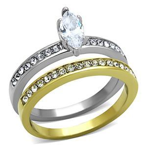 Stainless Steel Two Tone Marquise Cut CZ Wedding Ring Set Size - 5 to 10 image 2