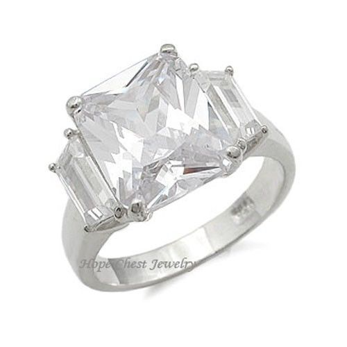 STERLING SILVER Three Stone Cubic Zirconia Engagement Ring  - SIZE 5 (LAST ONE)