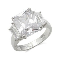 STERLING SILVER Three Stone Cubic Zirconia Engagement Ring  - SIZE 5 (LAST ONE) image 1