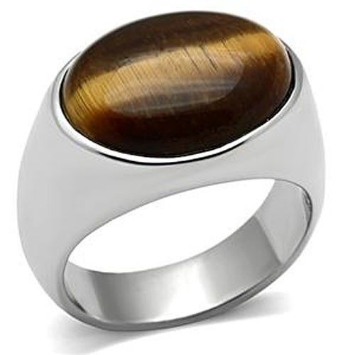 Stainless Steel Oval Shape Men's Tiger Eye Ring  - SIZE 8 to 13
