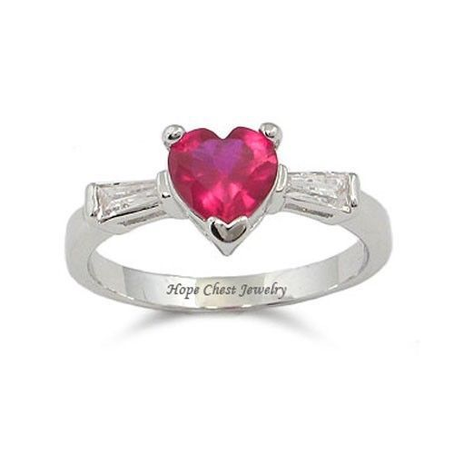 Silver Tone Three Stone Red Heart Cubic Zirconia Ring - SIZE 8, 9