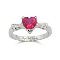 Silver Tone Three Stone Red Heart Cubic Zirconia Ring - SIZE 8, 9 image 1