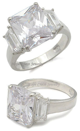 STERLING SILVER Three Stone Cubic Zirconia Engagement Ring  - SIZE 5 (LAST ONE) image 2