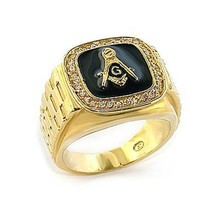 Gold Tone Black Surface Crystal Masonic Men's Ring - SIZE 10 image 1