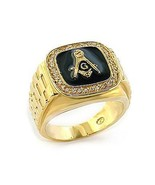 Gold Tone Black Surface Crystal Masonic Men's Ring - SIZE 10 - $18.77