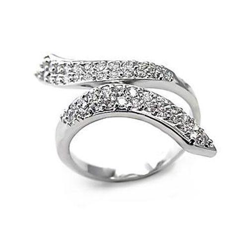 DESIGNER INSPIRED CZ RING - White Ribbon Style Pave CZ Ring - SIZE 6