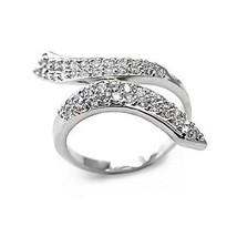 DESIGNER INSPIRED CZ RING - White Ribbon Style Pave CZ Ring - SIZE 6 image 1