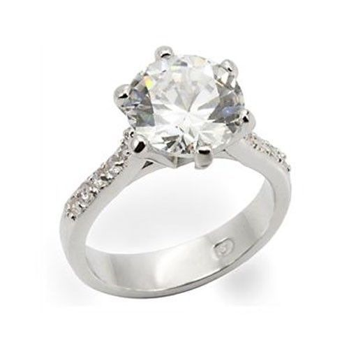 Silver Tone 6.40 Carat Cubic Zirconia Engagement Ring - SIZE 8, 9, 10