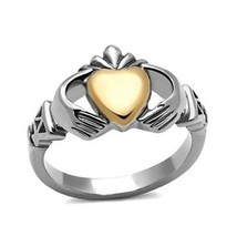 Stainless Steel Rose & Silver Tone Irish Claddagh Friendship Ring - SIZE 5 - 10 image 1