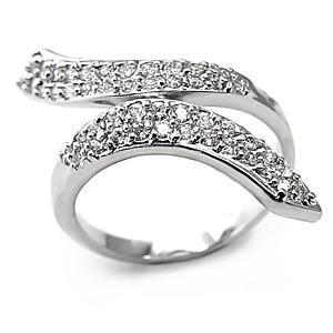 DESIGNER INSPIRED CZ RING - White Ribbon Style Pave CZ Ring - SIZE 6 image 2