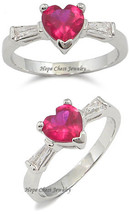 Silver Tone Three Stone Red Heart Cubic Zirconia Ring - SIZE 8, 9 image 2