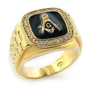 Gold Tone Black Surface Crystal Masonic Men's Ring - SIZE 10 image 2
