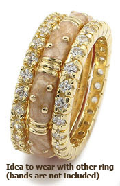 Gold Tone Tone Eternity CZ and Enamel Stackable Band Ring - SIZE 7,8,9