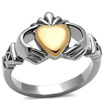 Stainless Steel Rose & Silver Tone Irish Claddagh Friendship Ring - SIZE 5 - 10 image 2