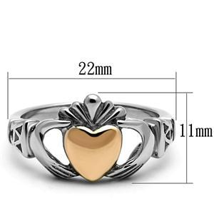 Stainless Steel Rose & Silver Tone Irish Claddagh Friendship Ring - SIZE 5 - 10 image 3