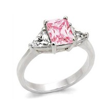 Silver Tone Pink & White 3 Stone Cubic Zirconia Ring   - SIZE 5, 6, 9 - $12.14