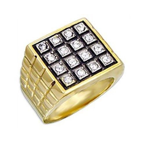 Gold Tone Square Flat Face Round Cubic Zirconia Men's Ring - SIZE 9