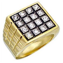 Gold Tone Square Flat Face Round Cubic Zirconia Men's Ring - SIZE 9 image 2