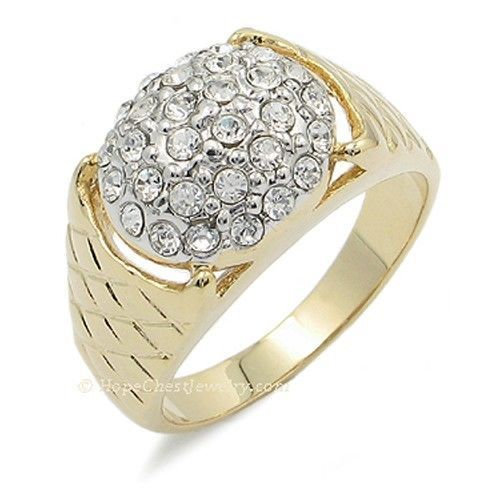 Gold Tone Pave Setting Cubic Zirconia Men's Cluster Ring - SIZE 10