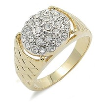 Gold Tone Pave Setting Cubic Zirconia Men's Cluster Ring - SIZE 10 image 1