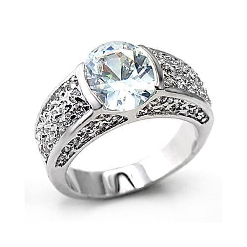 Sterling Silver Oval Cut Cubic Zirconia Engagement Ring -SIZE 6 (last one)