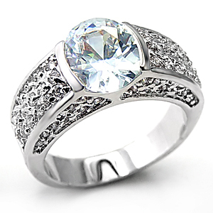 Sterling Silver Oval Cut Cubic Zirconia Engagement Ring -SIZE 6 (last one) image 2