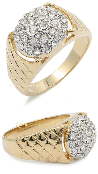 Gold Tone Pave Setting Cubic Zirconia Men's Cluster Ring - SIZE 10 image 2