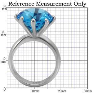 Stainless Steel Big Round Aquamarine Blue CZ Ring - SIZE 9 (last one) image 2