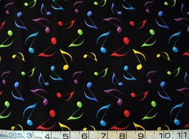 1/2 yd music/jazz/colorful eighth notes black quilt fabric -free shipping