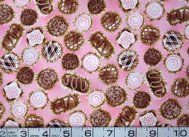 Food/chocolates/candy on pink cotton quilt/sewing fabric -By the Half Yard