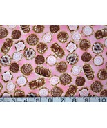By the Half Yard food/chocolates/candy on pink cotton quilt/sewing fabric - $6.99