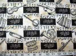 1/2 yd music notes/instruments glitter quilt fabric -free shipping - $9.99