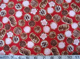 Food/chocolates/candy on red quilt fabric- By the Half Yard