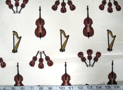 1/2 yd music/violin/bass/harp on white quilt fabric -free shipping