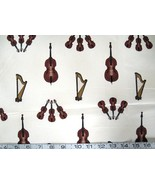 1/2 yd music/violin/bass/harp on white quilt fabric -free shipping - $10.99